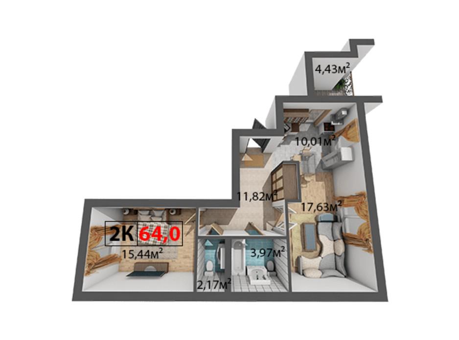 Планировка 2-комнатной квартиры в ЖК Квартал Венский 64 м², фото 191466