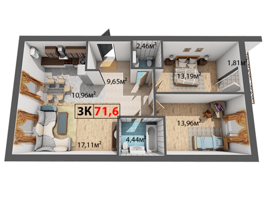Планування 3-кімнатної квартири в ЖК Квартал Віденський 71.6 м², фото 191467