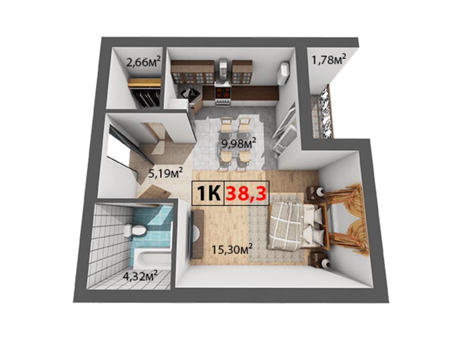Планування 1-кімнатної квартири в ЖК Квартал Віденський 38.3 м², фото 191469