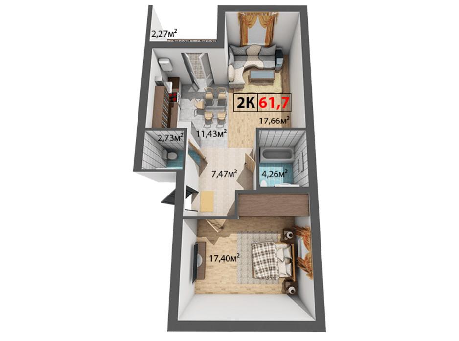 Планування 2-кімнатної квартири в ЖК Квартал Віденський 61.7 м², фото 191471
