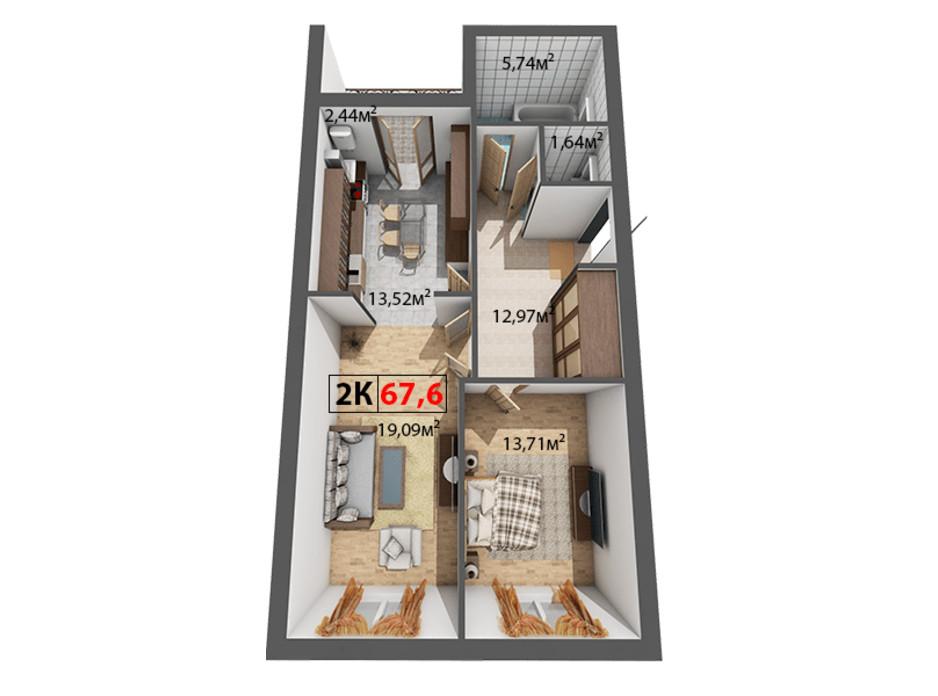 Планировка 2-комнатной квартиры в ЖК Квартал Венский 67.6 м², фото 191478