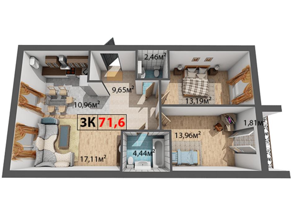 Планування 3-кімнатної квартири в ЖК Квартал Віденський 71.6 м², фото 191481