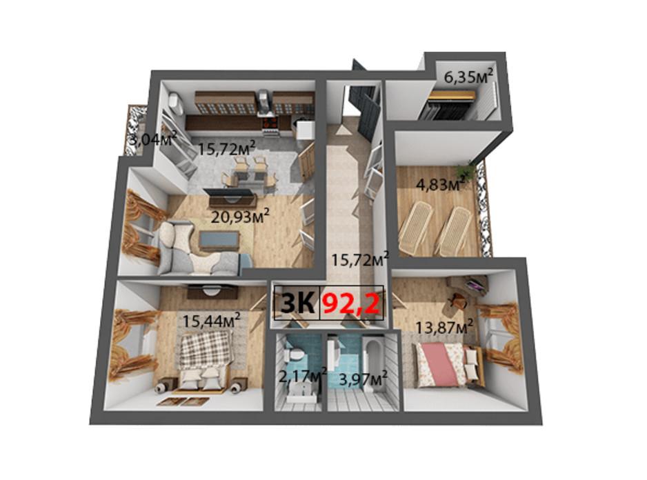 Планування 3-кімнатної квартири в ЖК Квартал Віденський 92.2 м², фото 191485