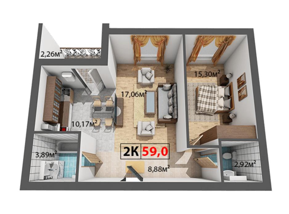 Планування 2-кімнатної квартири в ЖК Квартал Віденський 59 м², фото 191488