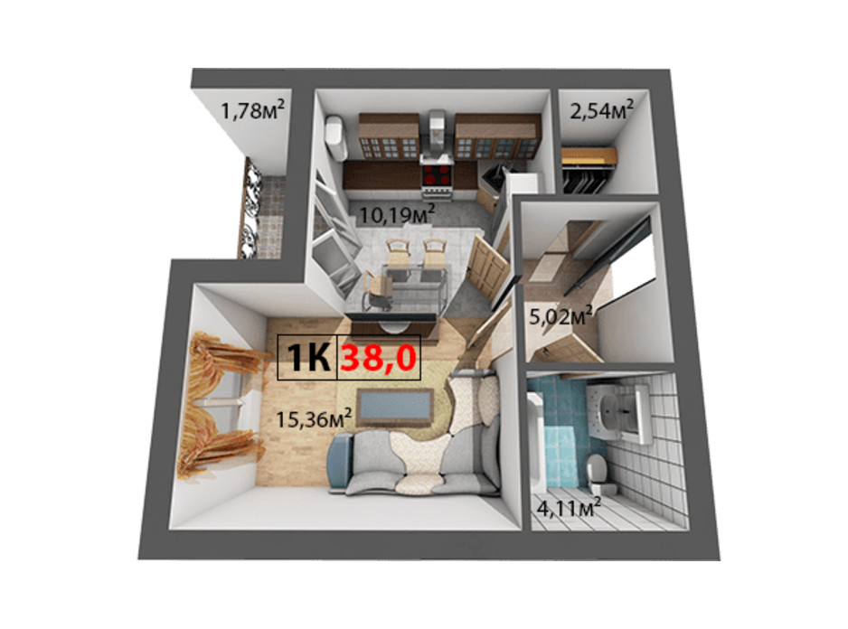Планування 1-кімнатної квартири в ЖК Квартал Віденський 38 м², фото 191494