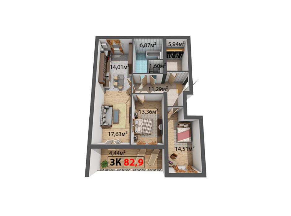 Планування 3-кімнатної квартири в ЖК Квартал Віденський 82.9 м², фото 191498