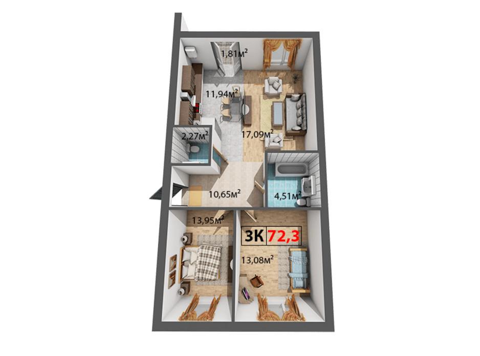 Планування 3-кімнатної квартири в ЖК Квартал Віденський 73.3 м², фото 191502