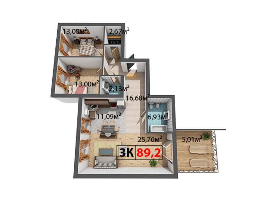 Планування 3-кімнатної квартири в ЖК Квартал Віденський 89.2 м², фото 191503