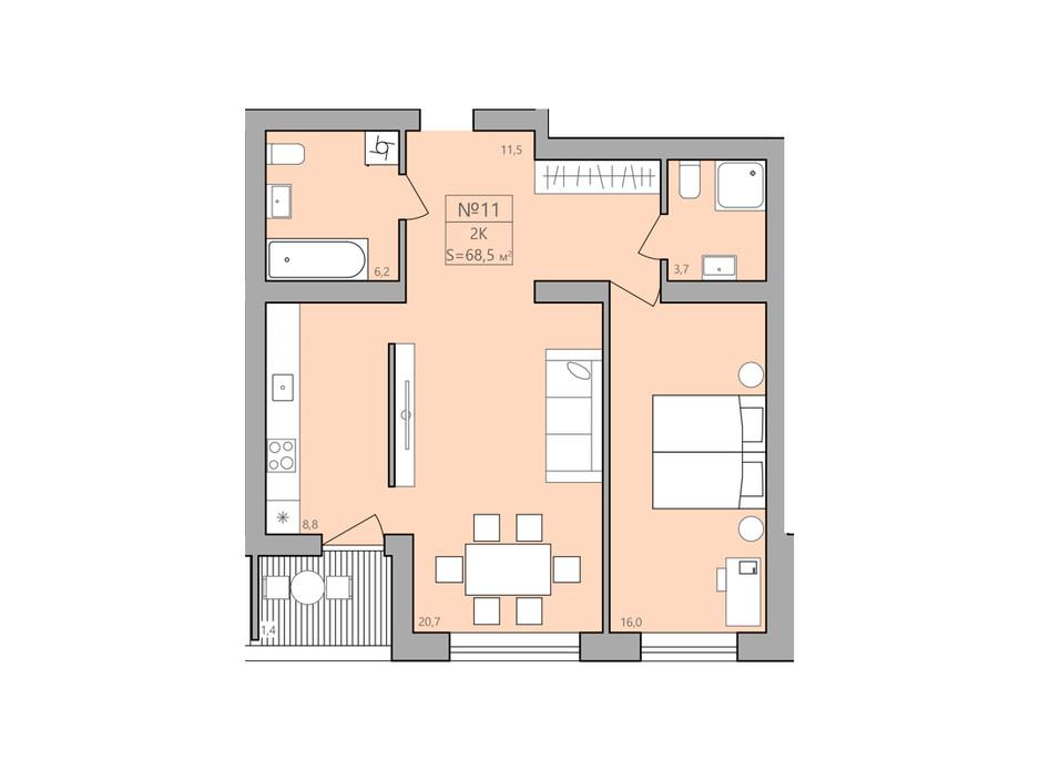 Планування 2-кімнатної квартири в ЖК ЕкоДім 68.5 м², фото 192287
