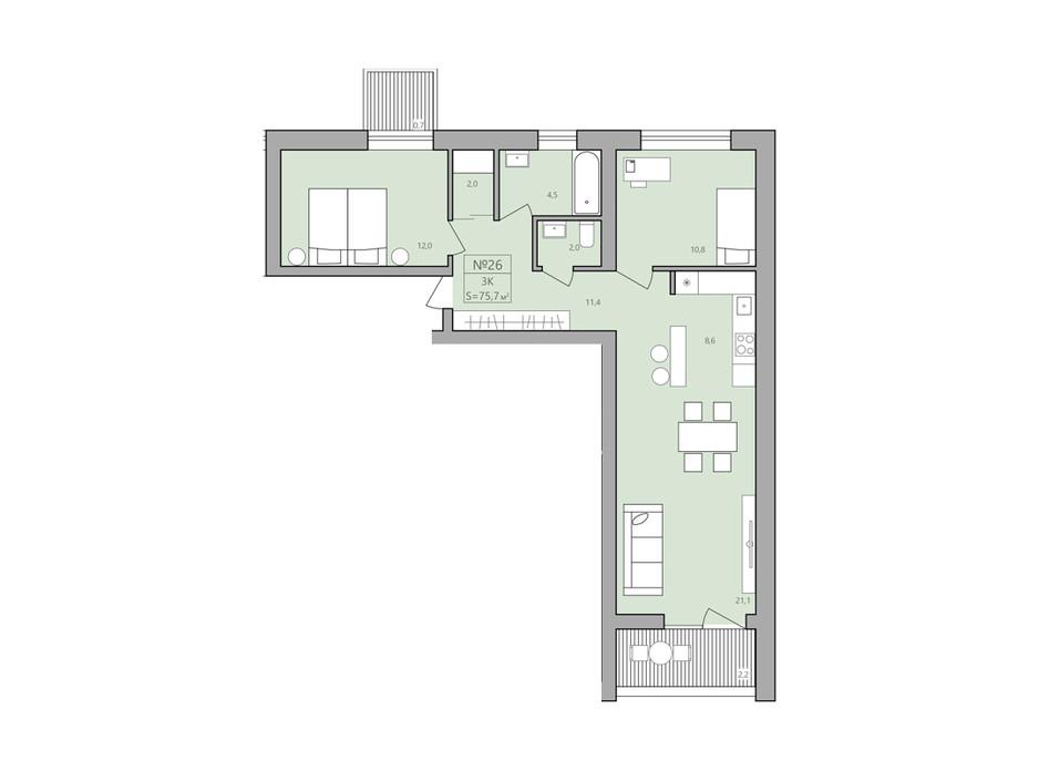Планування 2-кімнатної квартири в ЖК ЕкоДім 75.7 м², фото 192295