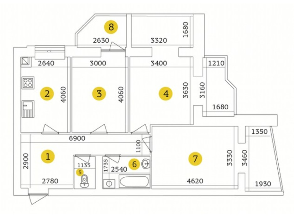 Планування 3-кімнатної квартири в ЖК Тетерівський Бульвар 90.07 м², фото 193133