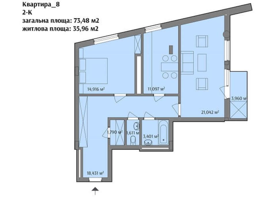 Планировка 2-комнатной квартиры в ЖК ул. Варшавская 73.48 м², фото 193185