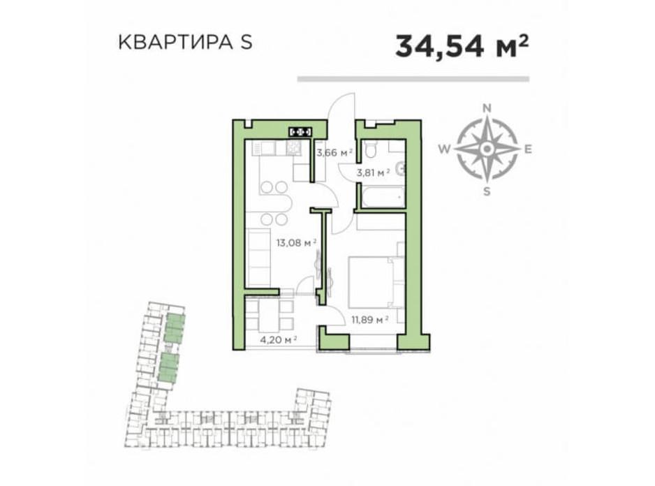 Планування 1-кімнатної квартири в ЖК Авіатор 34.54 м², фото 193198
