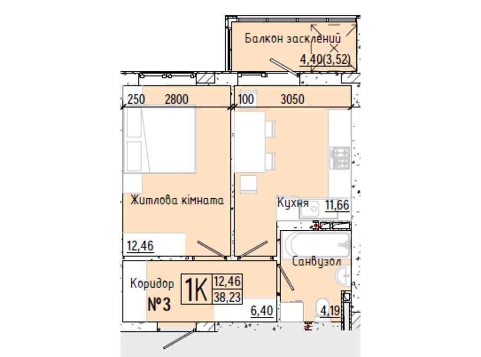 Планування 1-кімнатної квартири в ЖК Акварель 7 38.34 м², фото 193756