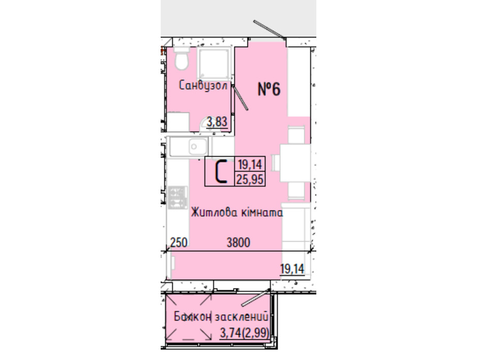 Планування смарт квартири в ЖК Акварель 7 25.95 м², фото 193761