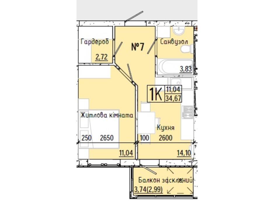 Планування смарт квартири в ЖК Акварель 7 34.74 м², фото 193763