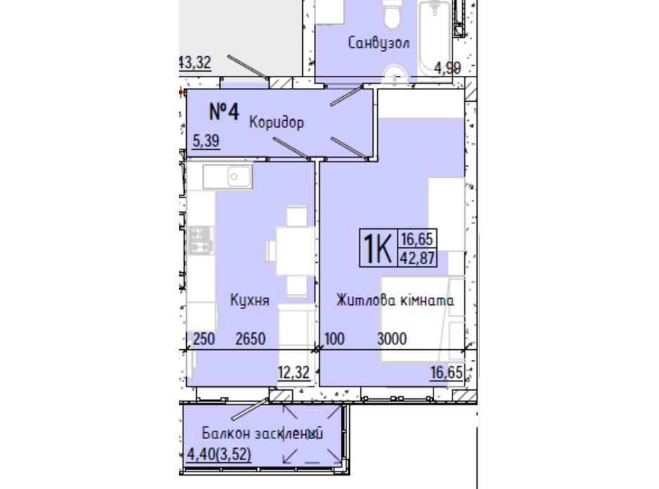 Планування 1-кімнатної квартири в ЖК Акварель 7 42.37 м², фото 193764