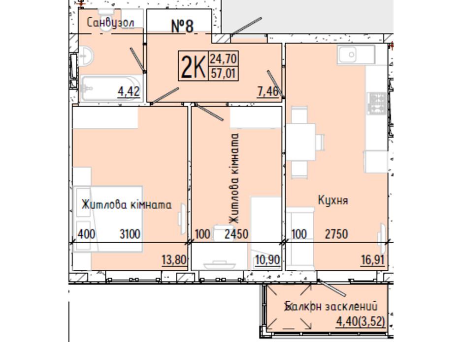 Планування 2-кімнатної квартири в ЖК Акварель 7 56.51 м², фото 193795