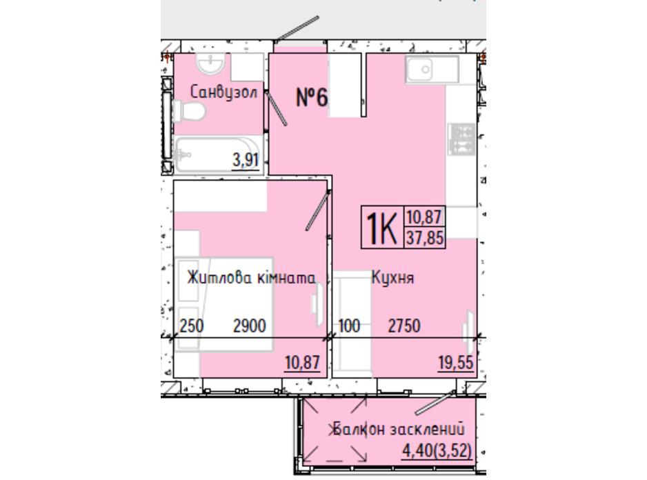 Планування 1-кімнатної квартири в ЖК Акварель 7 37.71 м², фото 193800