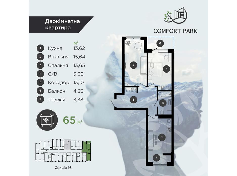 Планування 2-кімнатної квартири в ЖК Comfort Park 65 м², фото 193896
