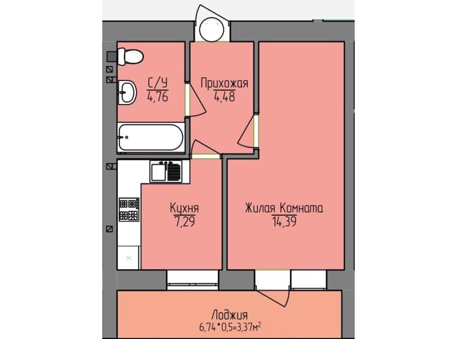 Планування 1-кімнатної квартири в ЖК Лівобережний 34.29 м², фото 194106