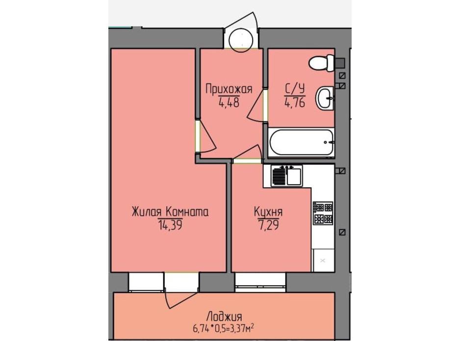 Планування 1-кімнатної квартири в ЖК Лівобережний 34.29 м², фото 194107