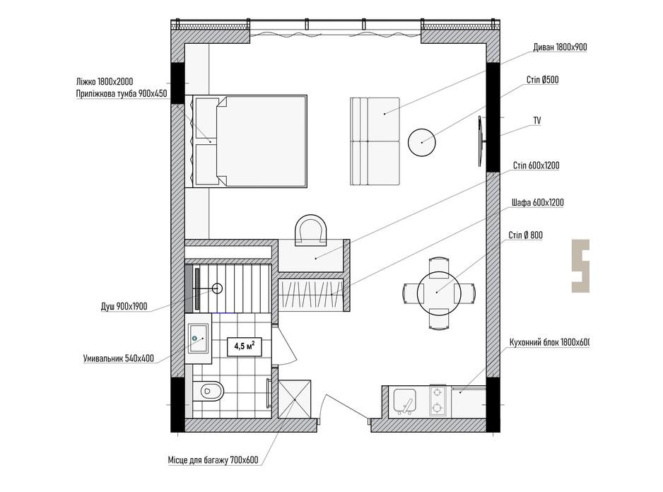 Планування 2-кімнатної квартири в КА Le Meandre 37.1 м², фото 195460
