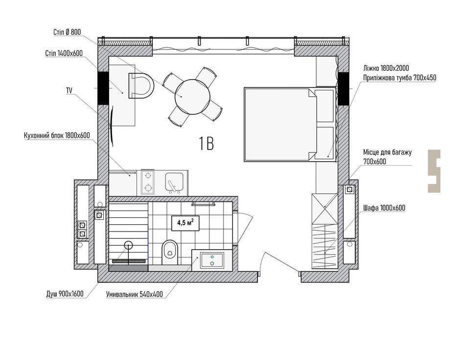 Планування смарт квартири в КА Le Meandre 25.91 м², фото 195461