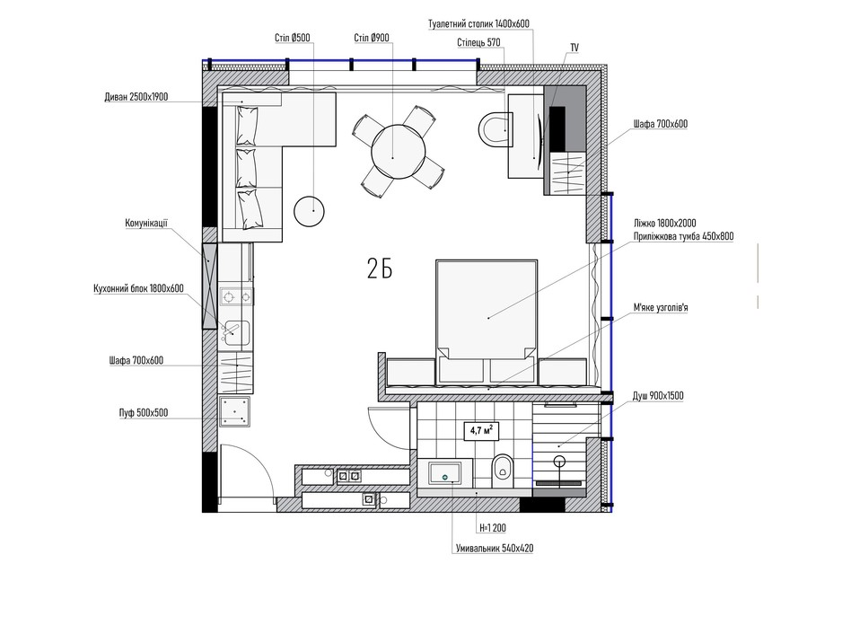 Планування 2-кімнатної квартири в КА Le Meandre 43.37 м², фото 195462