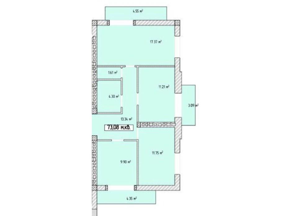 Планировка 1-комнатной квартиры в ЖК Паннония 73.08 м², фото 195840