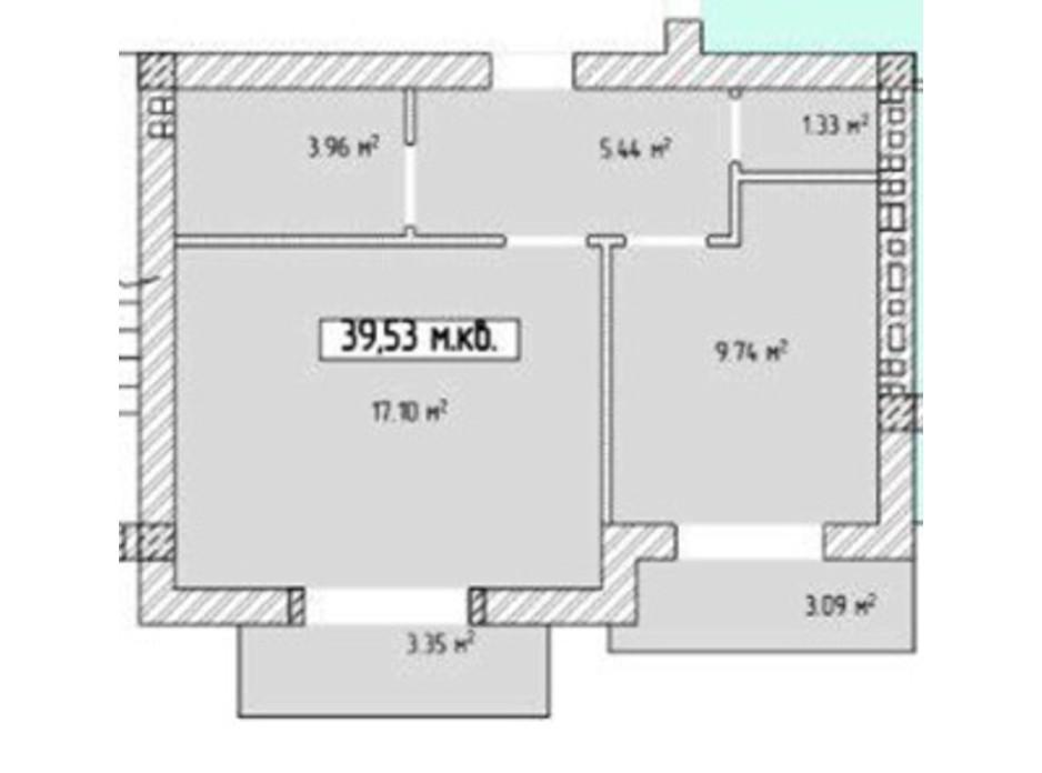 Планировка 1-комнатной квартиры в ЖК Паннония 39.53 м², фото 195841