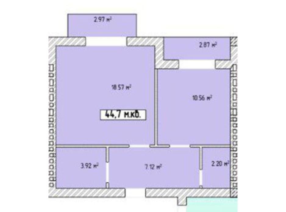 Планировка 1-комнатной квартиры в ЖК Паннония 44.7 м², фото 195842