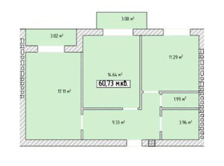 Планировка 2-комнатной квартиры в ЖК Паннония 60.73 м², фото 195844