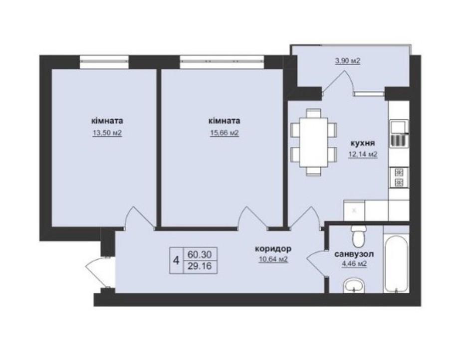 Планировка 2-комнатной квартиры в ЖК Тетрис 60.3 м², фото 195882