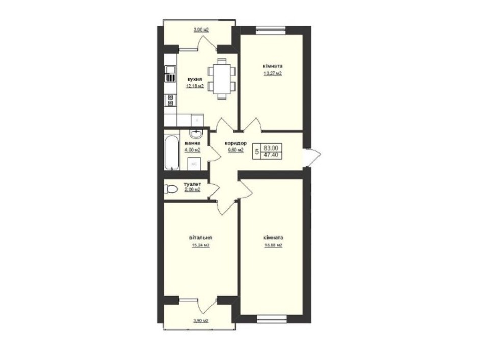 Планировка 3-комнатной квартиры в ЖК Тетрис 83 м², фото 195885