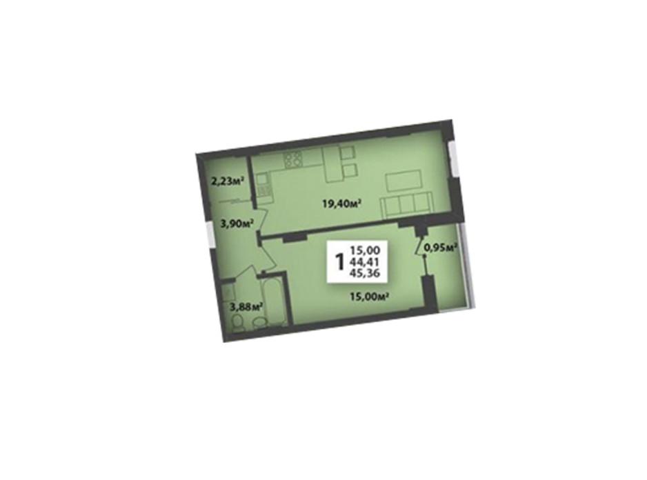 Планування приміщення в ЖК М'ята Авеню 45.36 м², фото 195899