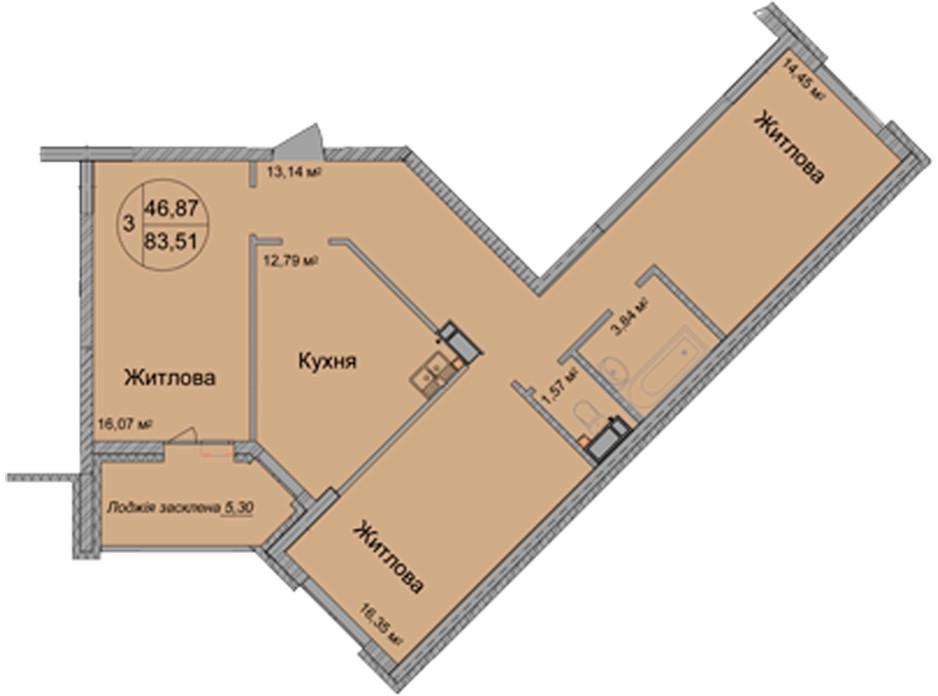 Планировка 3-комнатной квартиры в ЖК Святобор 83.51 м², фото 196626