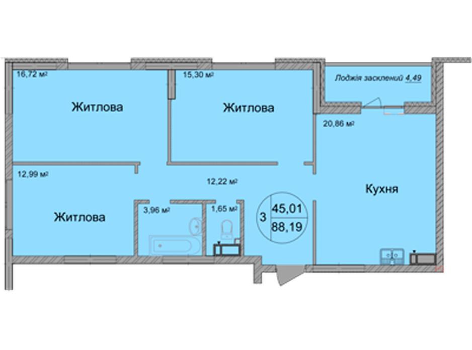 Планування 3-кімнатної квартири в ЖК Святобор 88.19 м², фото 196627