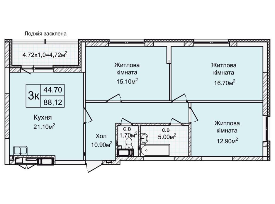 Планировка 3-комнатной квартиры в ЖК Святобор 88.12 м², фото 196630