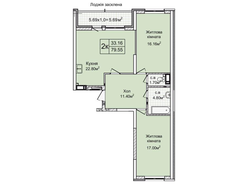 Планировка 2-комнатной квартиры в ЖК Святобор 79.55 м², фото 196631