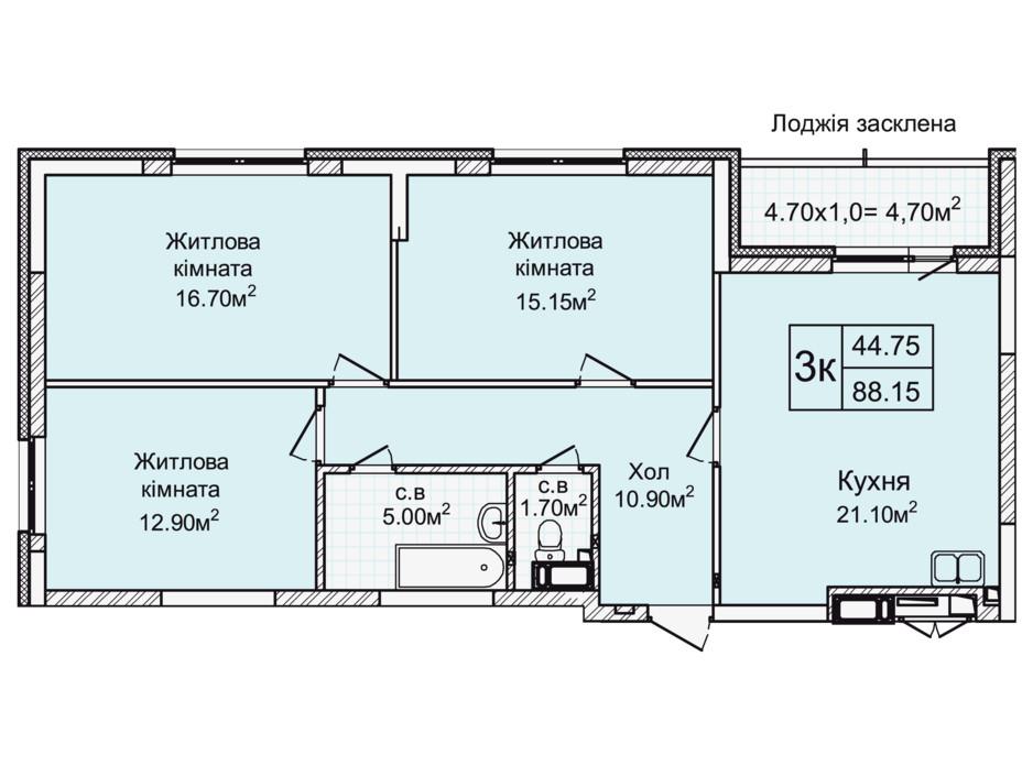 Планировка 3-комнатной квартиры в ЖК Святобор 88.15 м², фото 196632