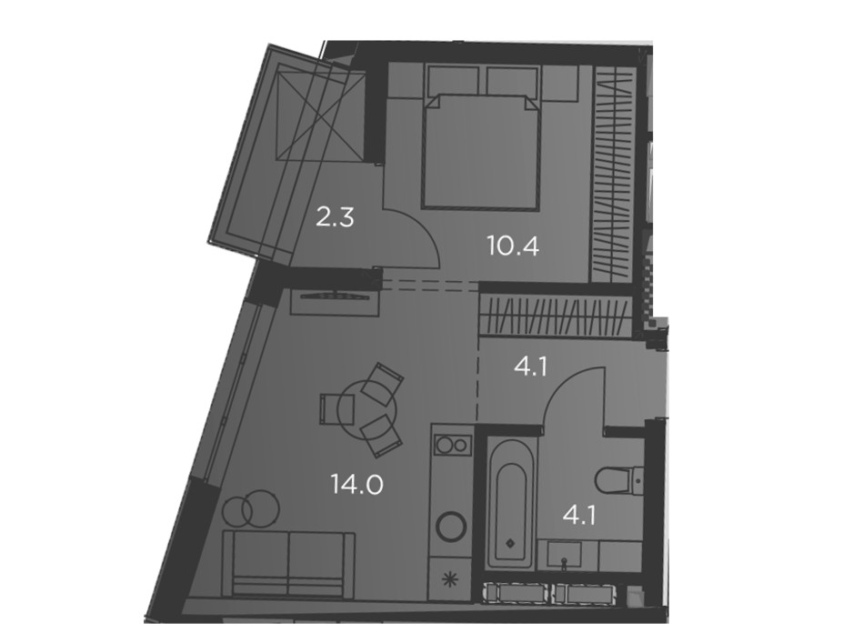 Планування 1-кімнатної квартири в Апарт-комплекс Pokrovsky Apart Complex 35 м², фото 197054