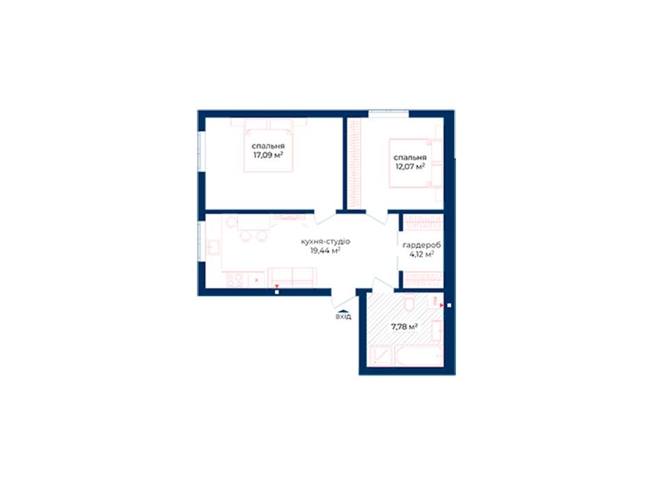 Планування 2-кімнатної квартири в КБ Liverpool House 60.5 м², фото 197327