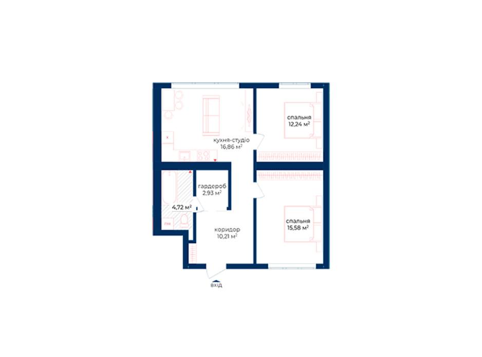 Планування 2-кімнатної квартири в КБ Liverpool House 62.54 м², фото 197329