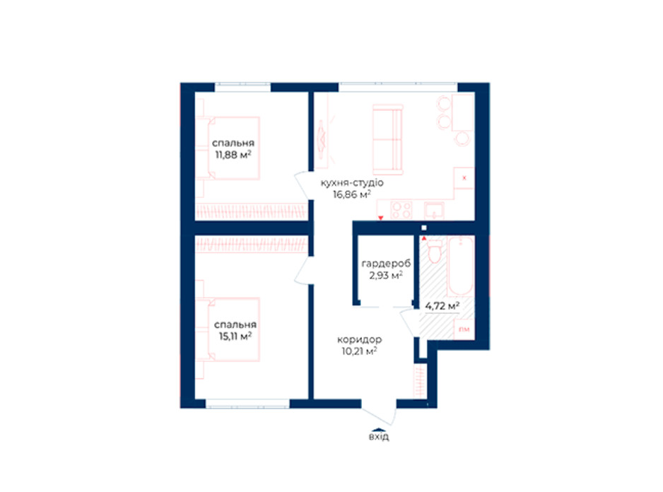 Планировка 2-комнатной квартиры в КД Liverpool House 61.71 м², фото 197343