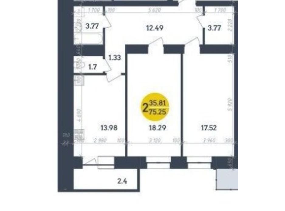 Планировка 2-комнатной квартиры в ЖК Династия 75.25 м², фото 197636