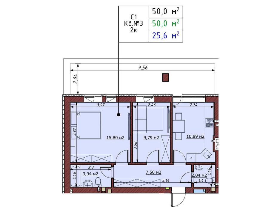 Планування 2-кімнатної квартири в ЖК Гостомельські Липки 5 50 м², фото 198366