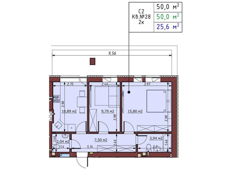 Планування 2-кімнатної квартири в ЖК Гостомельські Липки 5 50 м², фото 198385