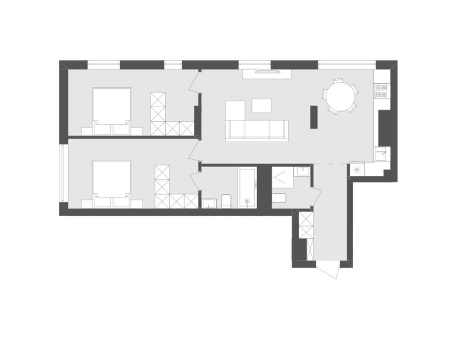 Планировка 2-комнатной квартиры в ЖК Avalon Holiday 74.03 м², фото 198488