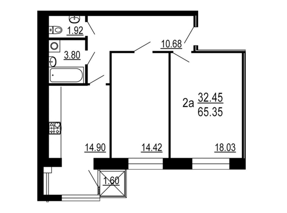 Планування 2-кімнатної квартири в ЖК Сімейний Comfort 65.35 м², фото 198729